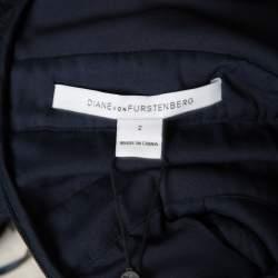 Diane Von Furstenberg Deep Night Blue Lace Plunge Neck Long Sleeve Viera Dress S