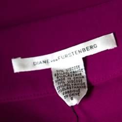 Diane Von Furstenberg Magenta Stretch Side Zip Detail Mini Skirt M