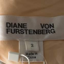 Diane von Furstenberg Pink and Ivory Sequinned One Shoulder Dress S
