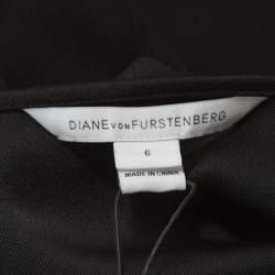 Diane von Furstenberg Black Crepe Embellished Zoe Dress M