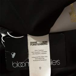Diane Von Furstenberg Black Satin Ruffle Trim Maxi Dress M