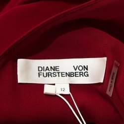 Diane Von Furstenberg Red Silk Sleeveless Side Slit Gown L