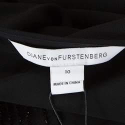 Diane Von Furstenberg Black Embellished Crepe Bella Dress L