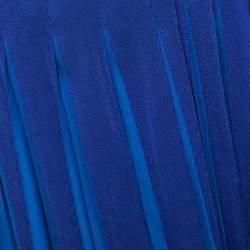 Diane von Furstenberg Blue Jersey Pleated Stevie Wrap Dress S