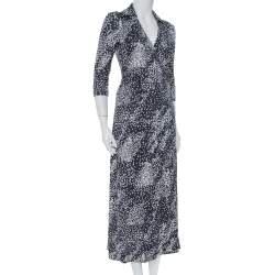 Diane Von Furstenberg Navy Blue Silk Knit Rain Abigail Maxi Wrap Dress S