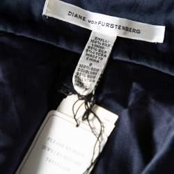 Diane von Furstenberg Navy Blue Silk  Sequin Embellished Tiered Sleeveless Latiera Top M
