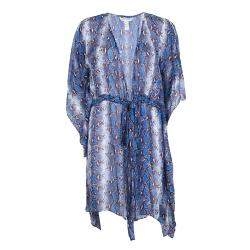Diane Von Furstenberg Snakeskin Printed Silk Tamarindo Kaftan Tunic XS