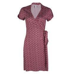 Diane Von Furstenberg Burgundy and White Printed Jilda Two Wrap Dress S