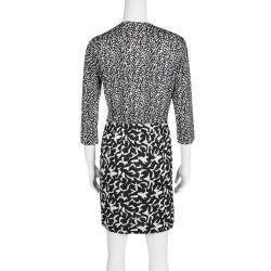 Diane Von Furstenberg Monochrome Printed Silk Jersey Wrap Effect Melodi Dress M