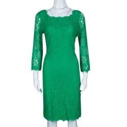 Diane Von Furstenberg Green Zarita Long Sleeve Lace Dress L