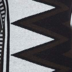 Diane Von Furstenberg Monochrome Aztec Patterned Knit Sleeveless Dress S