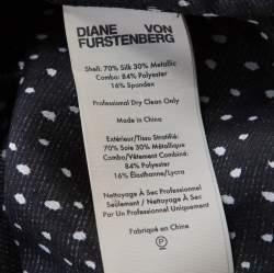 Diane Von Furstenberg Monochrome Metallic Polka Dot Long Sleeve Top S
