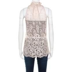 Diane Von Furstenberg Beige Floral Lace Ruffle Trim Sleeveless Olvida Top S