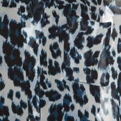 Diane Von Furstenberg Multicolor Snow Cheetah Printed Silk Lorelei Blouse M