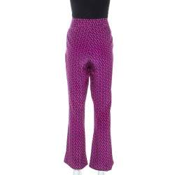 Diane Von Furstenberg Pink Printed Silk Petunia Flared Pants M