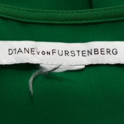 Diane von Furstenberg Green Stretch Silk Aveline Dress M
