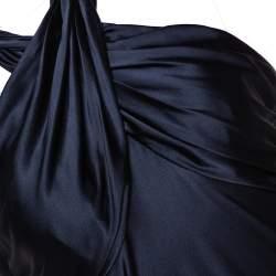 Diane Von Furstenberg Midnight Blue Stretch Silk Halter Neck William Dress M