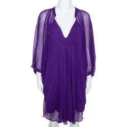 Diane Von Furstenberg Purple Georgette Kaftan Mini Dress S