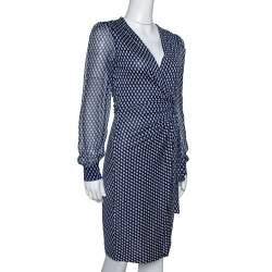 Diane Von Furstenberg Navy Blue Printed Silk Sigourney Two Wrap Dress S