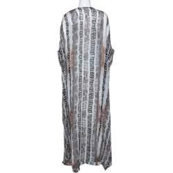 Diane von Furstenberg Black Printed Silk Clare Beaded Tech Maxi Kaftan L