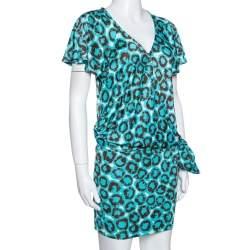 Diane Von Furstenberg Electric Blue Printed Jersey Hayley Wrap Dress M
