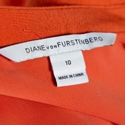 Diane Von Furstenberg  Orange Crepe Cutout Detail Kea Shift Dress L