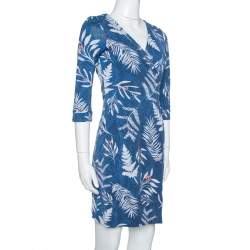 Diane Von Furstenberg Blue Printed Knit New Julian Two Wrap Dress S