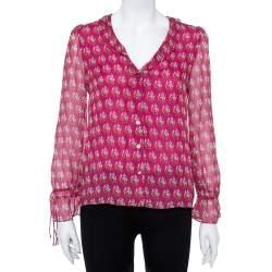 Diane von Furstenberg Bright Pink Silk Floral Print Kirsty Blouse XS