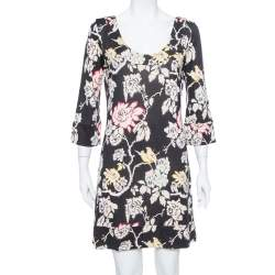 Diane von Furstenberg Black Floral Printed Silk Knit Shift Dress L