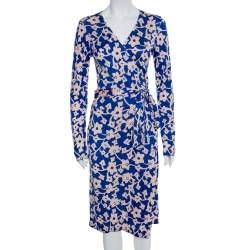 Diane Von Furstenberg Blue Floral Printed Knit Midi Wrap Dress M