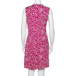Diane Von Furstenberg  Pink  Printed Knit Draped Neo Dress L