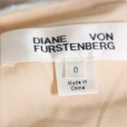 Diane Von Furstenberg Color Block Sequin Embellished Silk One Shoulder Midi Dress XS