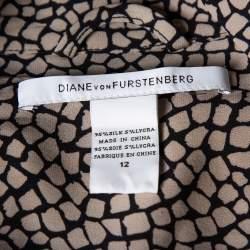 Diane Von Furstenberg Monochrome Silk Button Front New Tunis Dress L