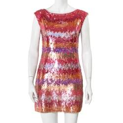 Diane Von Furstenberg Multicolor Sequin Embellished Sleeveless Shift Petite Fit Manaus Dress S