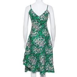 Diane Von Furstenberg Green Animal printed Silk Asymmetric Hem Midi Dress M