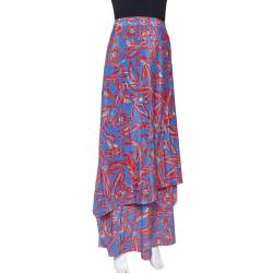 Diane Von Furstenberg Blue Abstract Printed Silk Layered Maxi Skirt S