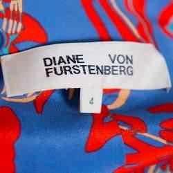 Diane Von Furstenberg Blue Abstract Printed Silk Layered Maxi Skirt S