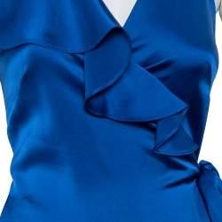 فستان ديان فون فرستنبيرغ طويل ملتف منفوش ساتان أزرق رويال مقاس صغير (سمول)