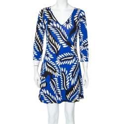 Diane Von Furstenberg Blue Printed Silk Knit Kaden Dress M