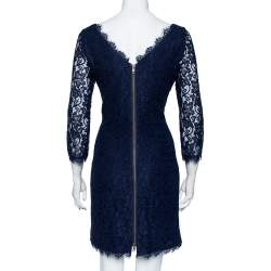Diane Von Furstenberg Navy Blue Lace Zarita Dress L
