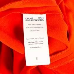 Diane Von Furstenberg Red Crepe Pleated Detail Flared Midi Dress M
