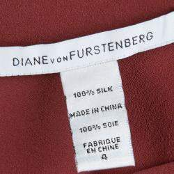Diane Von Furstenberg Brick Red Silk Teresia Drop Waist Dress S