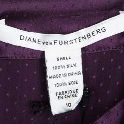 Diane Von Furstenberg Purple Silk Ruffle Detail Lindella Top L