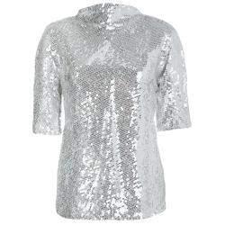 Diane Von Furstenberg Silver Sequin Embellished Short Sleeve Mako Top M