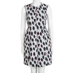 Diane Von Furstenberg Grey New Summer Mini Animal Dots Sleeveless Dress S