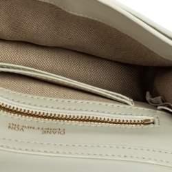 Diane Von Furstenberg White/Silver Leather and Sequin Soiree Shoulder Bag
