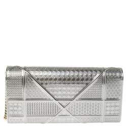 Dior Silver Microcannage Patent Leather Diorama Wallet on Chain