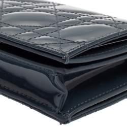 Dior Dark Grey Cannage Patent Leather Mini Lady Dior Wallet