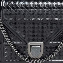 Dior Metallic Black Micro Cannage Leather Diorama Wallet on Chain