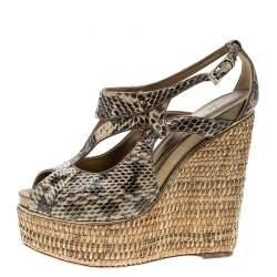 Dior Beige Python Leather Eden Peep Toe Ankle Strap Straw Wedge Sandals Size 38